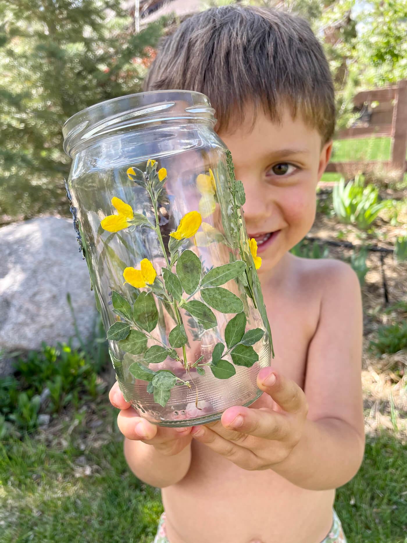 pressed flower lantern DIY nature craft